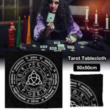 50x50cm Triquetra païenne roue de lannée calendrier sorcière Tarot Tarot nappe carte nappe Divination nappe
