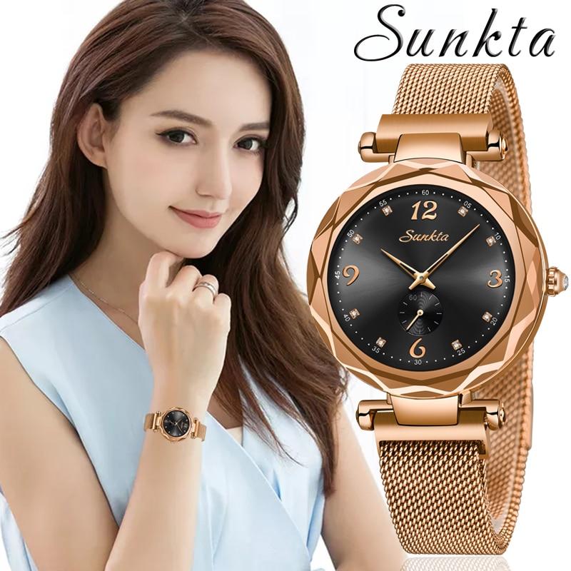 Montre Femme 2019SUNKTA Ladies Watch Women Quartz Watches Mesh Magnet Women's Bracelet Watches Female Clock Relogio Feminino+Box enlarge