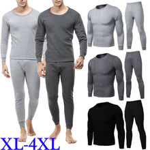 Men Thermal Underwear Set For Male Cotton Winter Long Johns 4XL Warm Suit Inner Wear Merino Clothing