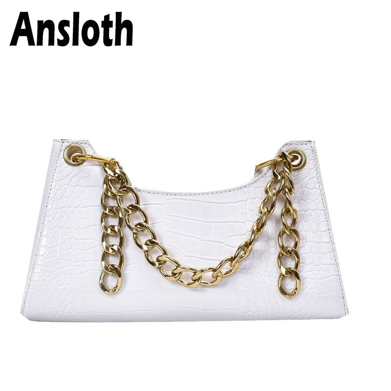 Ansloth Retro Chain Underarm Bag Crocodile Pattern Shoulder Bags PU Leather Women Bag  Baguette Shape Bags Fashion Ladies HPS943