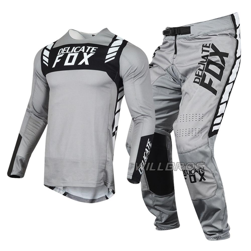Fox-مجموعة معدات الدراجة الجبلية للرجال ، بدلة موتوكروس للرجال ، جيرسي رمادي للطرق الوعرة ، 2021