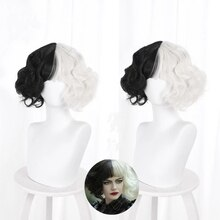 Cruella De Vil Kuila Half Black Half A Hundred Small Short Curly Cos Wig Wig Caps for Making Wigs Da