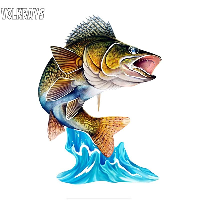Volkrays 3D Fisch Wand Kunst Schreibwaren Aufkleber Kühlen Springen Nördlichen Pike Walleye Aufkleber für Auto Fahrrad Motorrad Zimmer, 15cm * 11cm