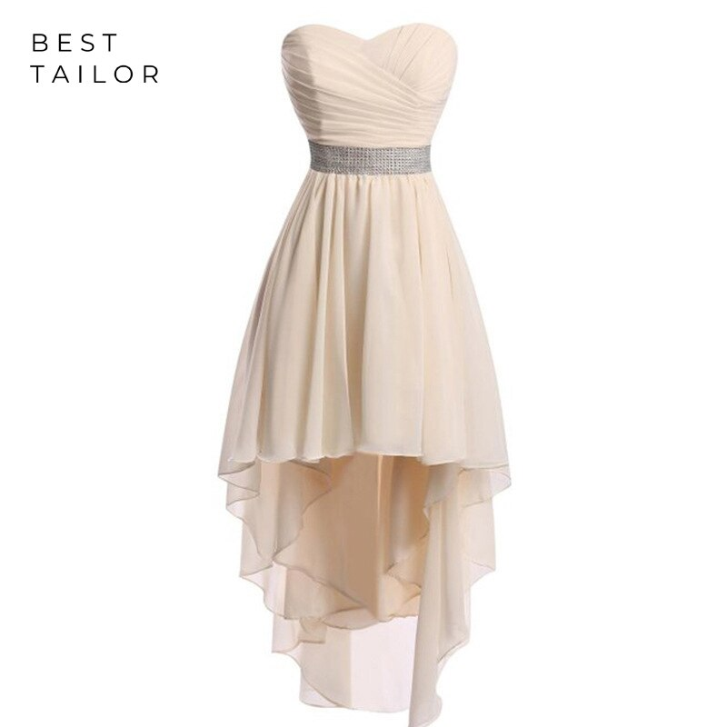Asymmetrical Bridesmaid Dresses Champagne Cheap Chiffon Formal Wedding Guest Gown vestidos de fiesta de noche Maid of Honor Gown