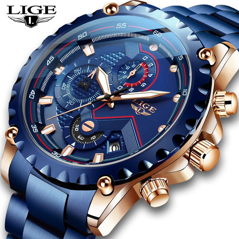 LIGE New Watch Men Top Brand Luxury Mens Watches Sport Stainless Steel Waterproof Business Date Quartz Watches Relogio Masculino