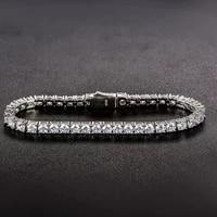 luxury solid silver 925 bracelets created moissanite diamond tennis bracelet bangle for women men bridal wedding fine jewelry