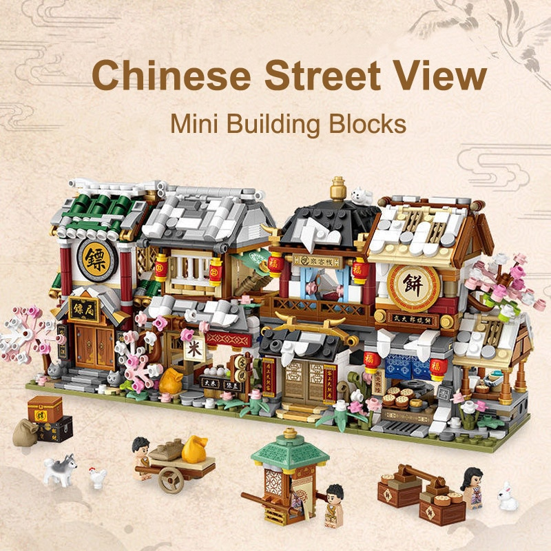 LOZ City Mini Building Blocks Chinese Street Store Architecture Juguetes Bloques DIY Shop Bricks Educational Toys Gifts for Kids 280 pcs mini city street view building blocks coffee shop hamburger store city diy bricks toys for children christmas gifts