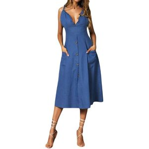 Womens Beach Ladies V Neck Ruffle Strappy Button Pocket Summer Holiday Midi Dress Sundress BX0A