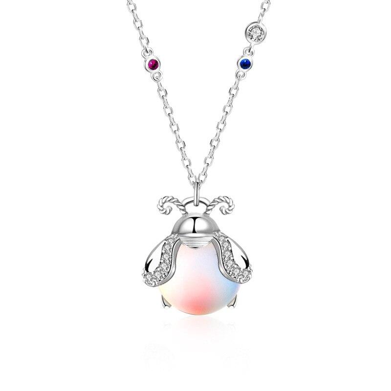 Collar de luciérnaga, cadena clavícula de piedra lunar brillante de hada arcoíris Aurora, plata 925