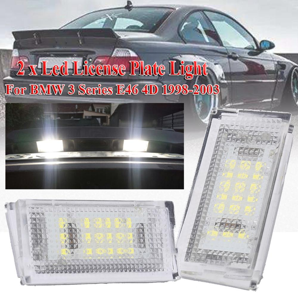 2 pieces Auto Tail Light Led License Plate Light Led Canbus White LED Bulbs For Car 3er E46 4D 1998-
