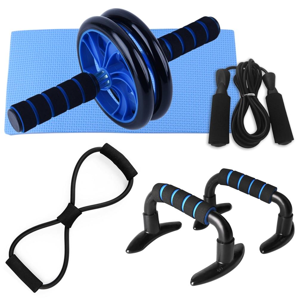 5 PCS Home Gym Fitness Set Bauch Roller Rad AB Rad Bauch Roller 8 Form Widerstand Band Jump Seil Push up Bars Pack