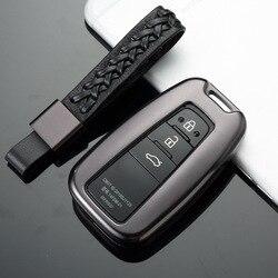 Yootobo liga de alumínio do carro chave titular capa caso escudo corrente para toyota camry corolla C-HR chr prado 2018 2019 proteção chave