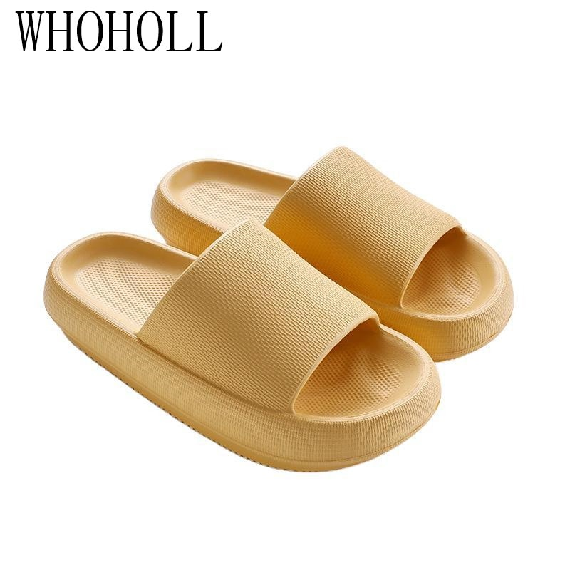 gienig 2018 summer men slippers a simple one with a thick bottomed leisure cool trend student anti skid wear resistant home WHOHOLL Summer Couples Bathroom Slippers Man Women EVA Thick Bottom 4.5cm Anti-skid Home Indoor Slippers Male Soft Beach Slipper