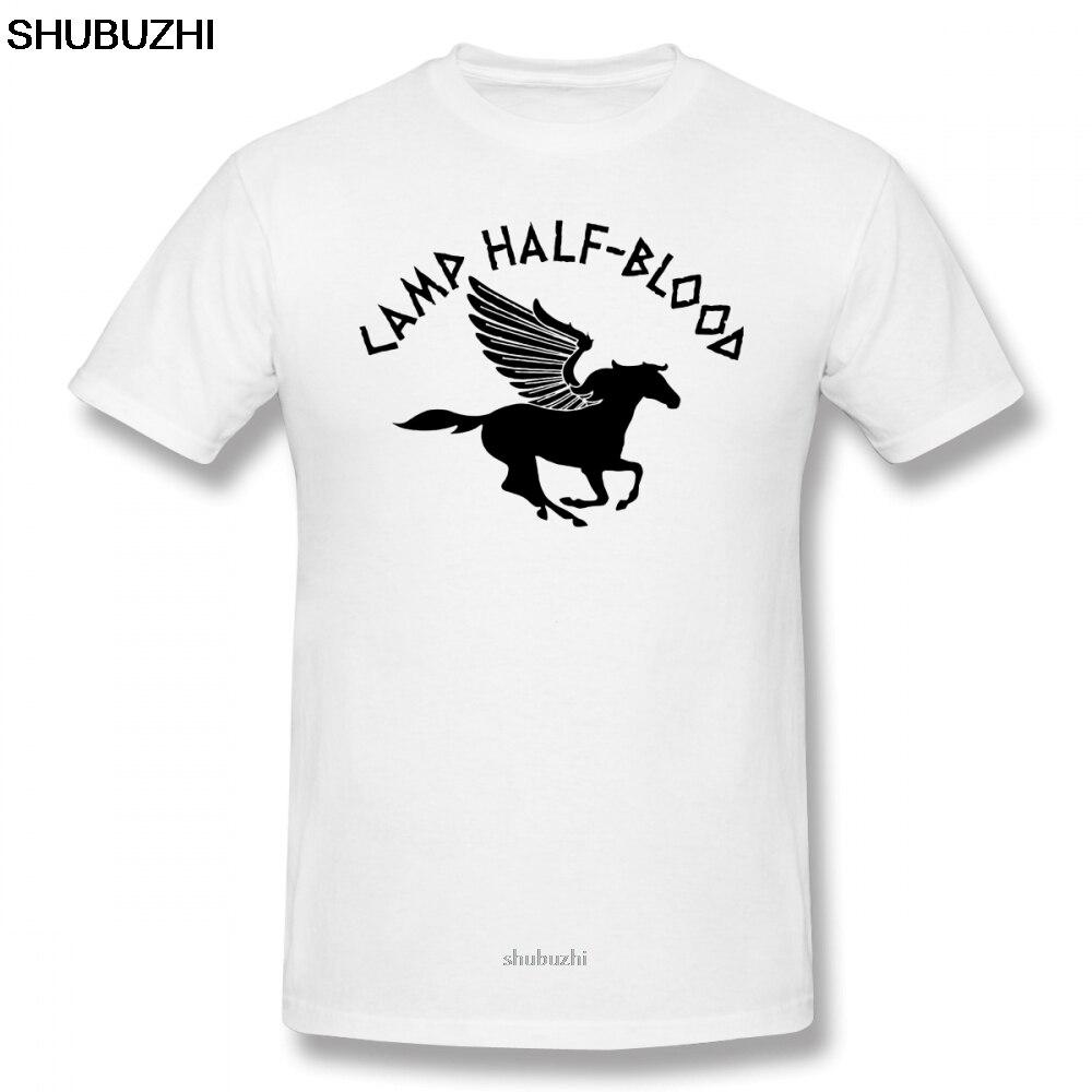 Percy Jackson camiseta de campamento de media sangre, camiseta de verano para hombre, camiseta divertida de algodón de manga corta, camiseta estampada sbz8080