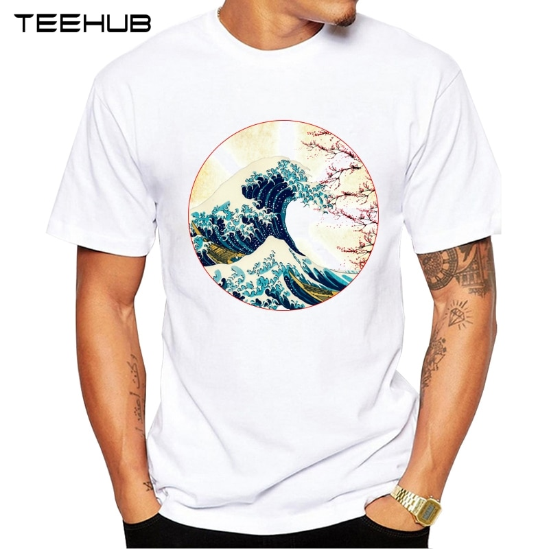 Novedad 2019 TEEHUB Cool hombres moda gran ola fuera de Fuji montaña diseño Camiseta de manga corta cuello redondo Tops Hipster tee