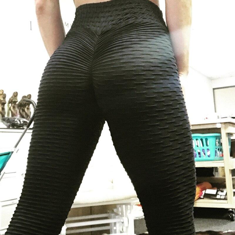 Leggings Fitness Mujer poliéster tobillo-longitud estándar doblar pantalones elasticidad Slim Push Up mujer Leggings de varios colores