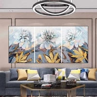 nordic gold plant leaf flower abstract canvas posters and prints wall art painting modern scandinavian picture living room decor