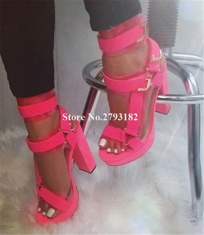 New Design Women Fashion Open Toe High Platform Chunky Heel Gladiator Sandals Ankle Wrap Patchwork High Heel Sandals Dress Heels