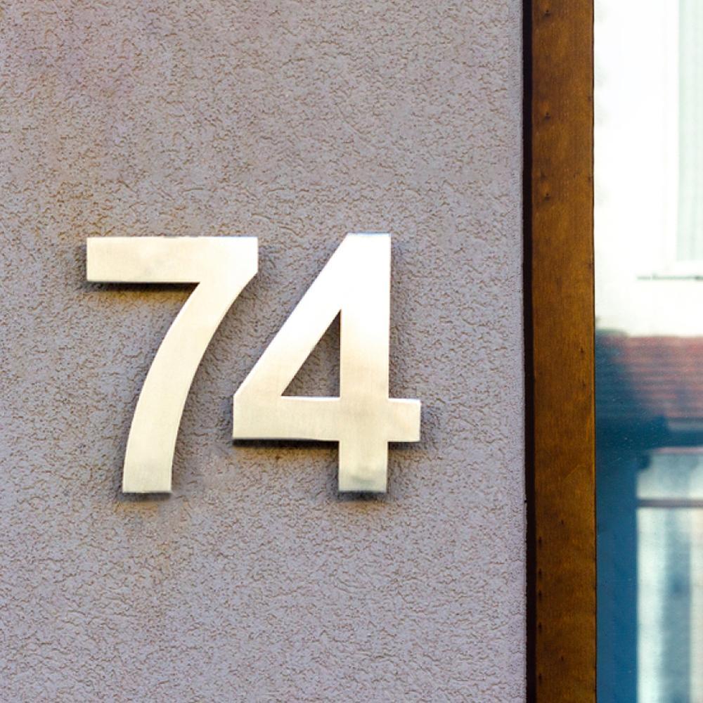 Señal de dirección de acero inoxidable para el hogar, número de Casa...
