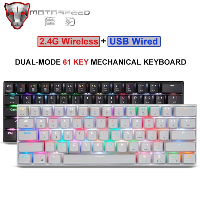 60% Motospeed السلكية/بلوتوث وضع مزدوج لوحة مفاتيح الألعاب الميكانيكية 61 مفتاح RGB الخلفية ل جهاز كمبيوتر شخصي أندرويد IOS نظام ألعاب