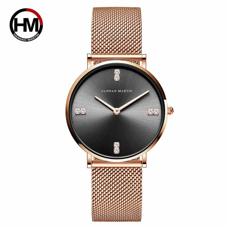 Hannah Martin Luxury Brand Quartz Steel Mesh Ladies Watch Diamond Women Watches Fashion Business Wristwatch Women Reloj Mujer hannah martin wristwatch women watches luxury brand quartz steel strap female watch diamond ladies watch clock women reloj mujer