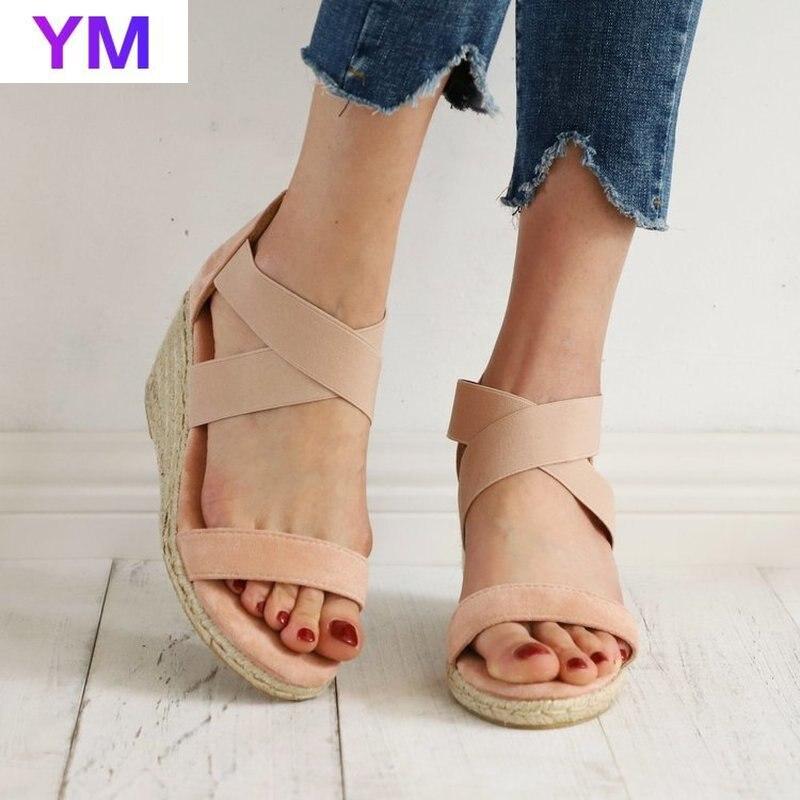 Sandalias De Plataforma con cuña y cremallera para Mujer, Zapatos lisos De...