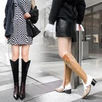 2021 brand leather booties patterns fashion motorcycle boots female winter high boots plus size autumn shoes for woman