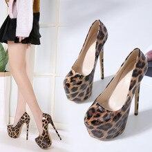 2020 new Spring/Autumn Sexy Wedding Fetish Round Toe Woman Pumps Platform Very High Heel Pumps 16 CM Leopard print Single shoes