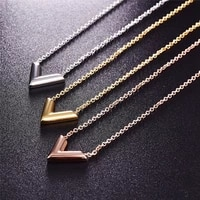 classic letter v pendant necklace for women new fashion metal neck chain gift to girlfriend female accessories 2021trend jewelry