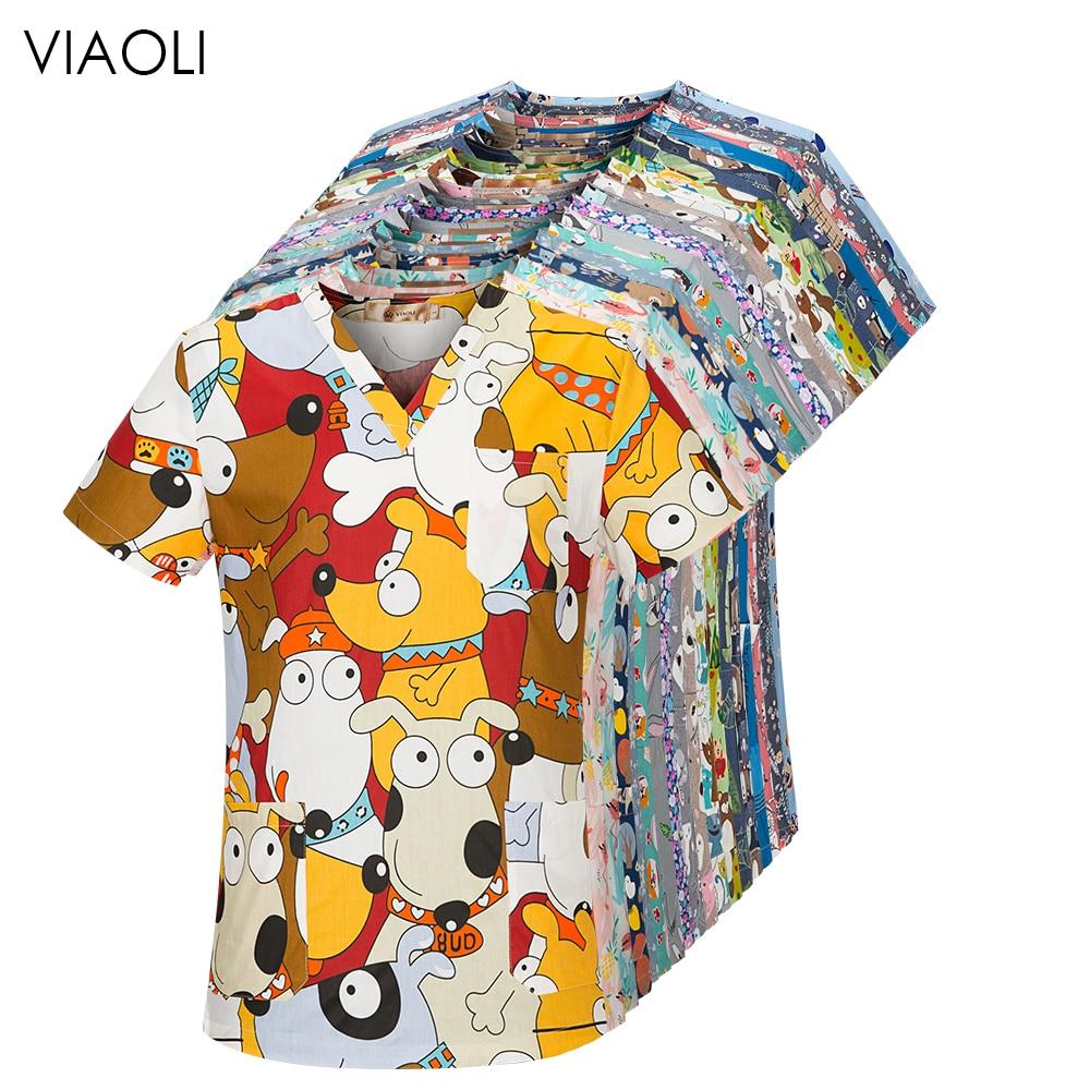 viaoli Cotton Cartoon print spa uniform beauty salon Pet shop uniform Fashion Slim Fit top scrub clothes women scrubs lab coat