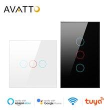 AVATTO Tuya WiFi สมาร์ทสวิทช์ไฟ Luxuray,แผงกระจก,touch Sensor สมาร์ทสวิทช์เสียงทำงานร่วมกับ Alexa, Google Home