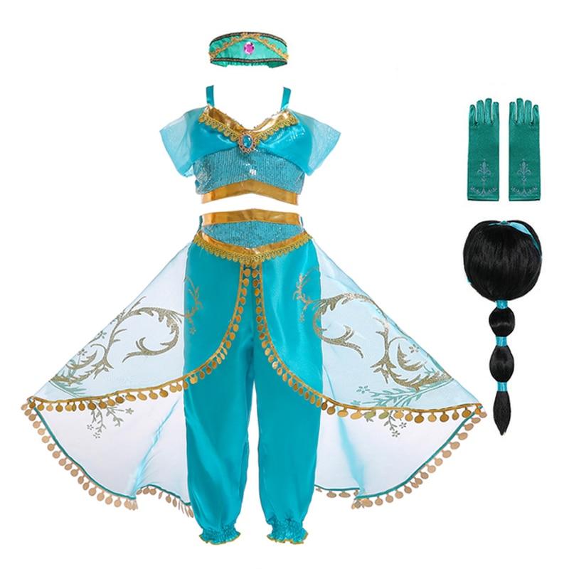 Natal festa de halloween meninas fantasia aladdin vestido jasmine cosplay traje com peruca de cabelo e chapéu meninas jasmim vestido cosplay
