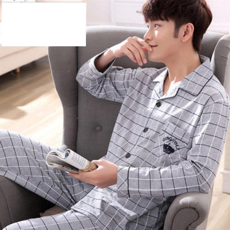 100% 25 хлопок пижама для мужчин 2 предмета гостиная одежда для сна пижамы плед весна постельное белье дом одежда мужские пижамы чистый хлопок пижамы комплект