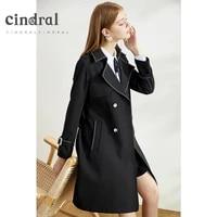 2021 spring fashion new popular black windbreaker coat womens middle and long korean style temperament versatile fashion