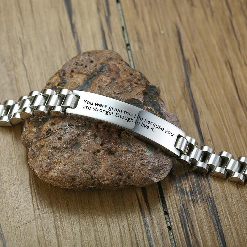 Браслет-цепочка из нержавеющей стали с бесплатной гравировкой под заказ серебряного цвета, идентификационные часы, бренды Man Dad, 8,3 дюйма