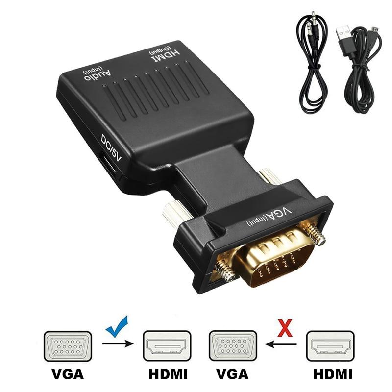 Convertidor VGA macho a HDMI hembra compatible con Cables de Audio, 480P/720P/1080P...