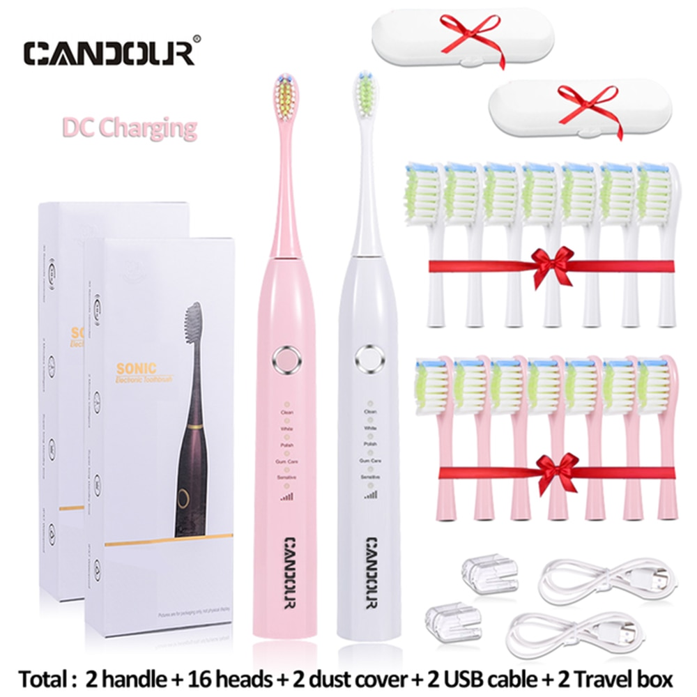 CANDOUR CD5166 Sonic electric toothbrush Rechargeable sonic Toothbrush Automatic Rechargeable with 16Pcs Replacement Brush Head enlarge