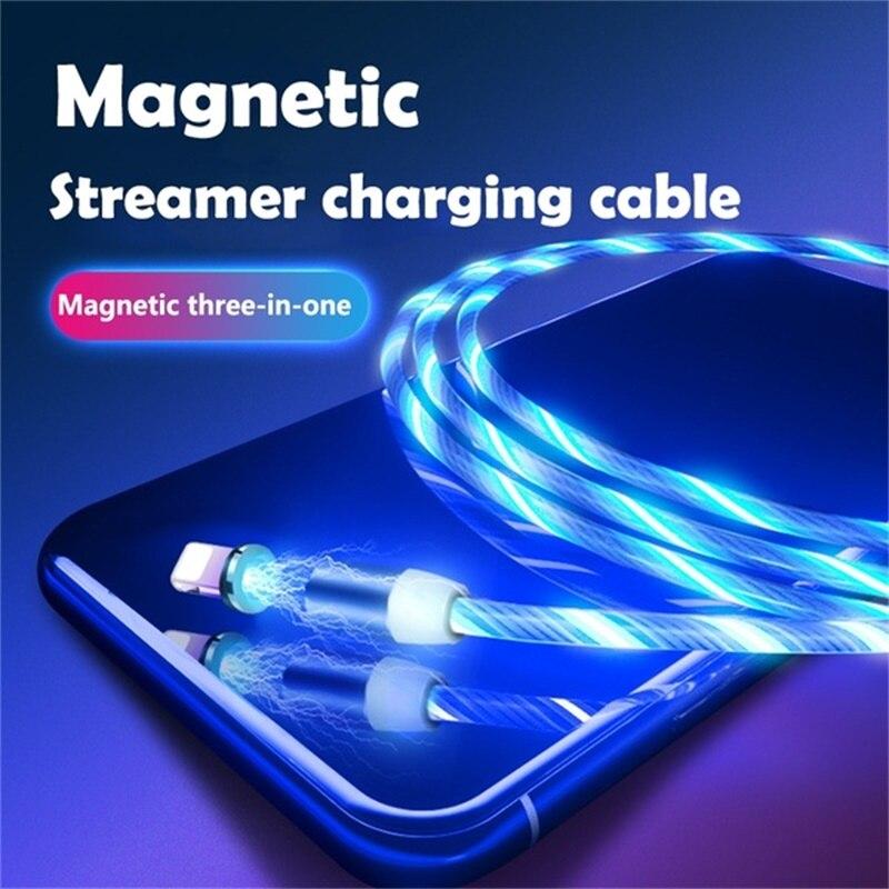 Cabo magnético do diodo emissor de luz luminoso do fluxo do cabo de usb para o iphone xr x 7 8 micro tipo c carregador de carregamento rápido ímã tipo carga c