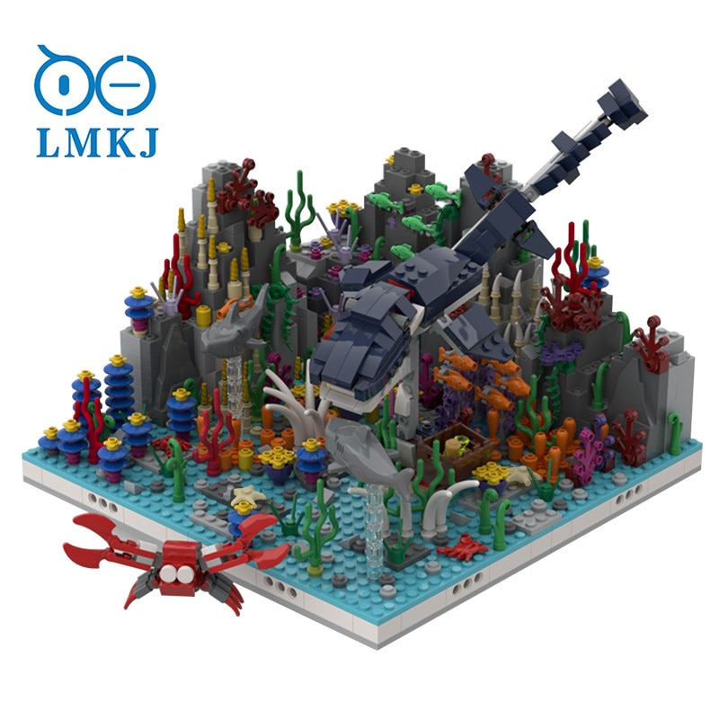 1090pcs MOC Building Blocks Girl Coral Reef Sea Dinosaur Alternative Mermaid Undersea Palace Toys Gift Children Construction