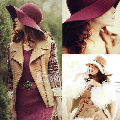 2019 nueva moda Vintage mujeres, niñas, damas ala ancha y flexible sombrero de fieltro de lana sombrero de playa de sol gorra negro rojo café