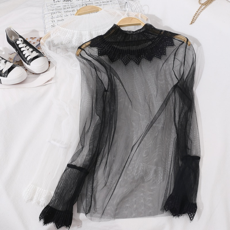 2021 Women Flare Sleeve Mesh Gauze Hollow Lace Flower Ruffles Embroidery Shirt Lady Elastic Slim Pullover Party Chic Blouse Tops