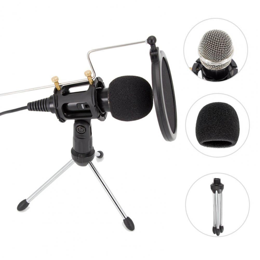 Micrófono condensador con absorción de impacto, Plug & Play multifuncional con cable,...