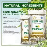 Minch 120Pcs Hemp Seed Oil Capsules Organic CBD Face Capsules Skin Care Pain Relief Hemp Oil Softgel Capsule For Better Sleep
