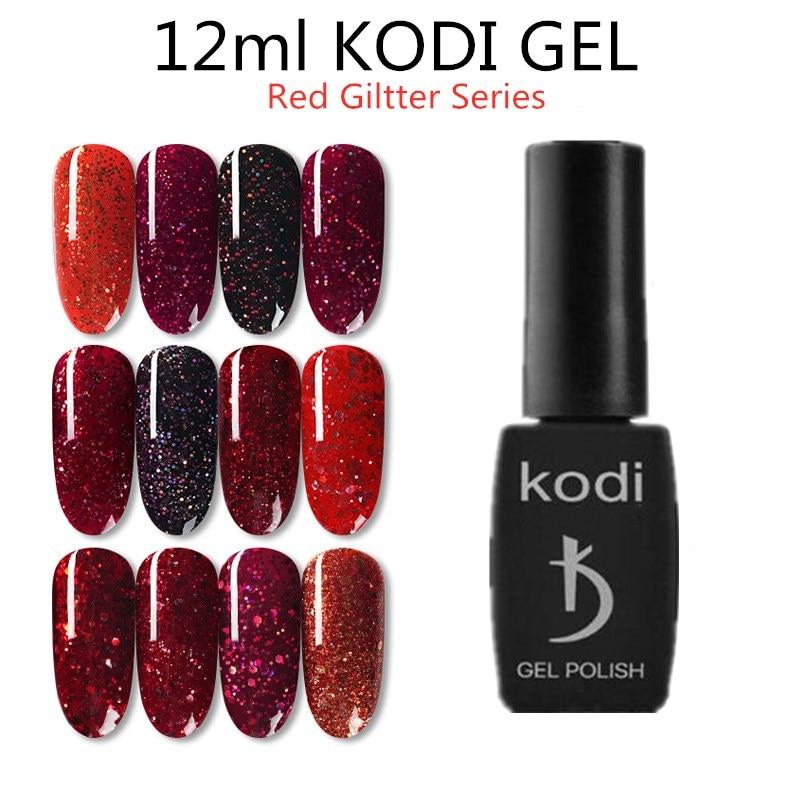 GEL KODI 12ML GEL de uñas de brillo polaco holográfico rojo profesional LED UV para uñas de GEL remojo de esmalte de uñas de larga duración