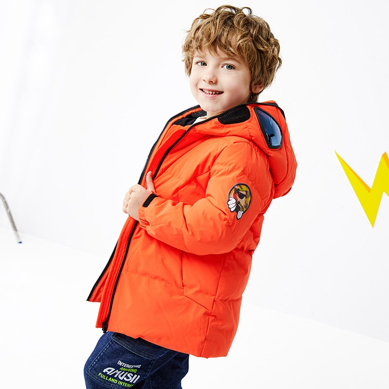 Boys Down Jacket 2021 Winter New Children's Thickened Middle and Large Children's Glasses Jacket Toddler Winter Coat Cartoon