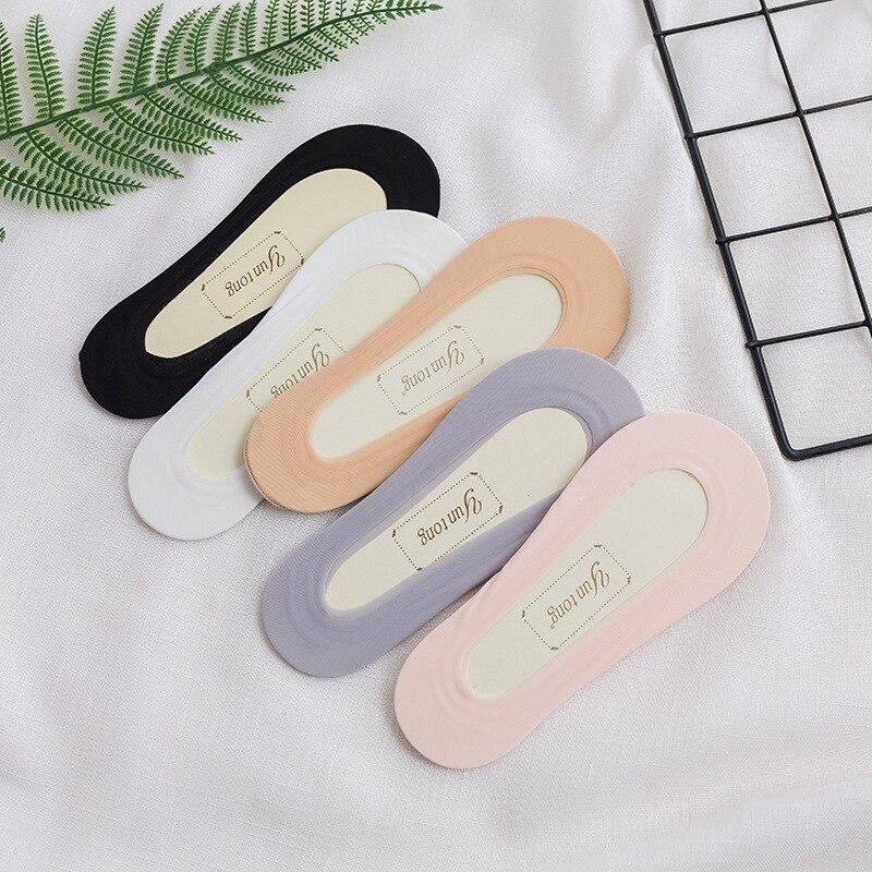 Женские летние тонкий носок силиконовые противоскользящие Ice Silk носки без швов, которые не видны под одеждой женские лодочные носки однотон...