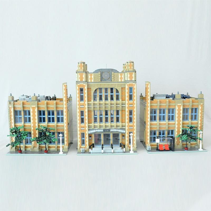 MOC العالم الشهير العمارة الحديثة كتل المدرسة مكان الطالب الطوب وحدات DIY بها بنفسك بناء اللعب للأطفال الهدايا