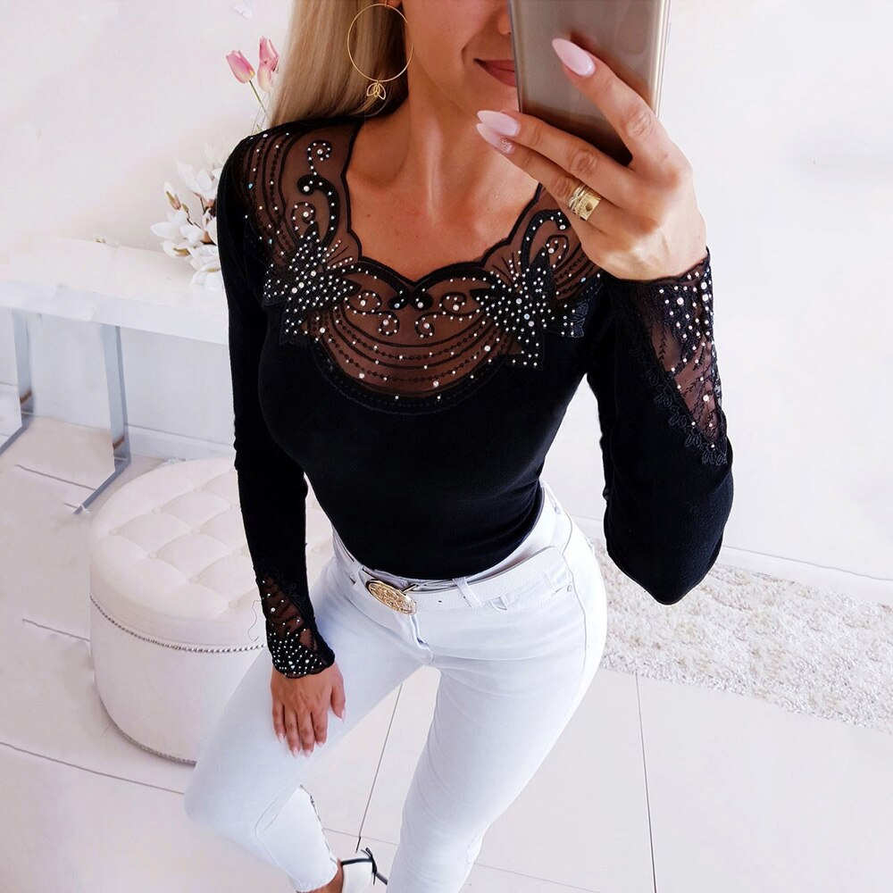 Fall 2020 New Fashion Ladies Long-sleeved Shirt Sexy Low-cut Patchwork Lace Top Elegant Slim Blouse