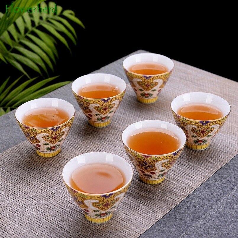 طقم أكواب شاي الكونغ فو من الخزف المطلي بالمينا ، طقم شاي على شكل زهرة مشوية ، فنجان شاي مطلي ببنوم بنه