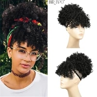 high puff afro kinky curly synthetic ponytail with bangs short chignon hair extension drawstring clip hair for blackwhite women